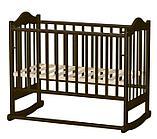 ВЕДРУСС Кровать детская ИРИШКА-6 колесо/качалка без ящика, сердечко Тем.орех