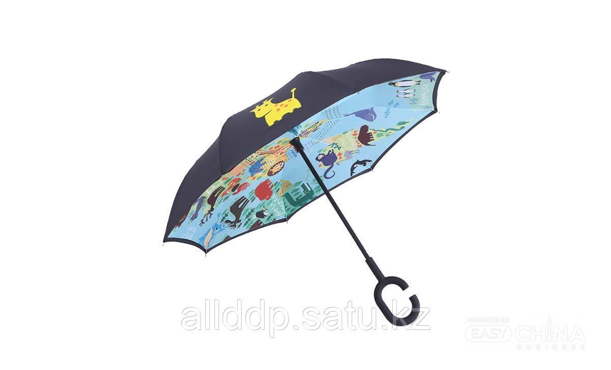 Детский зонт наоборот с прикольными принтами