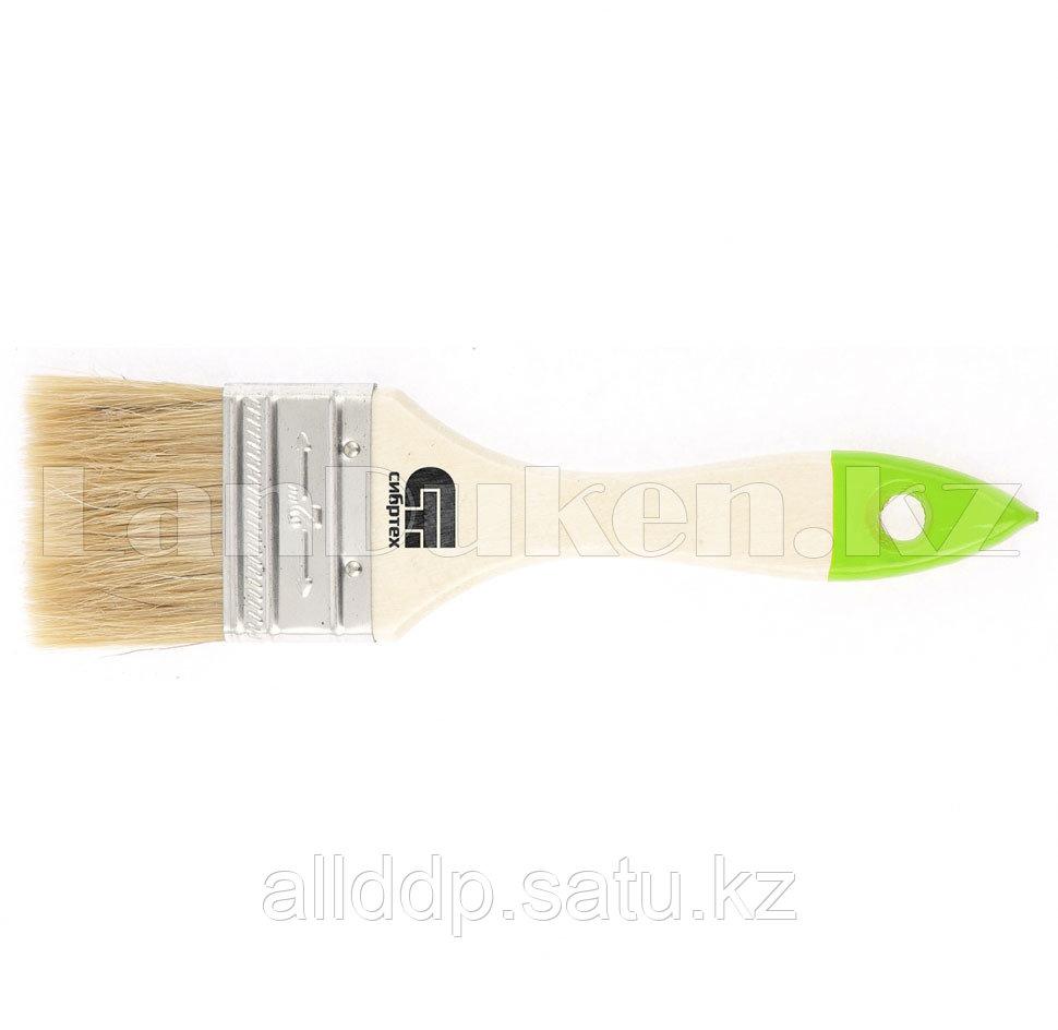Кисть плоская 50 мм, натуральная щетина, деревянная ручка 82263 (002)