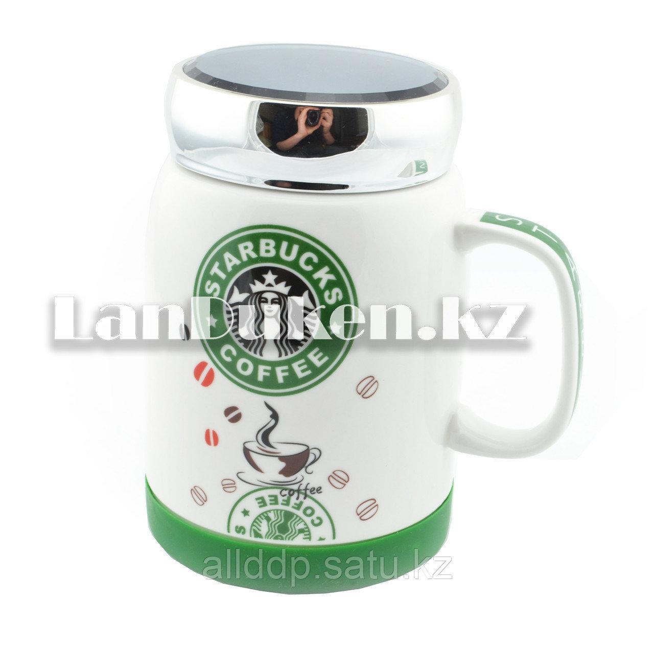 Чашки-кружки керамические с принтом Starbucks CUP для кофе и чая 350 мл зеленый