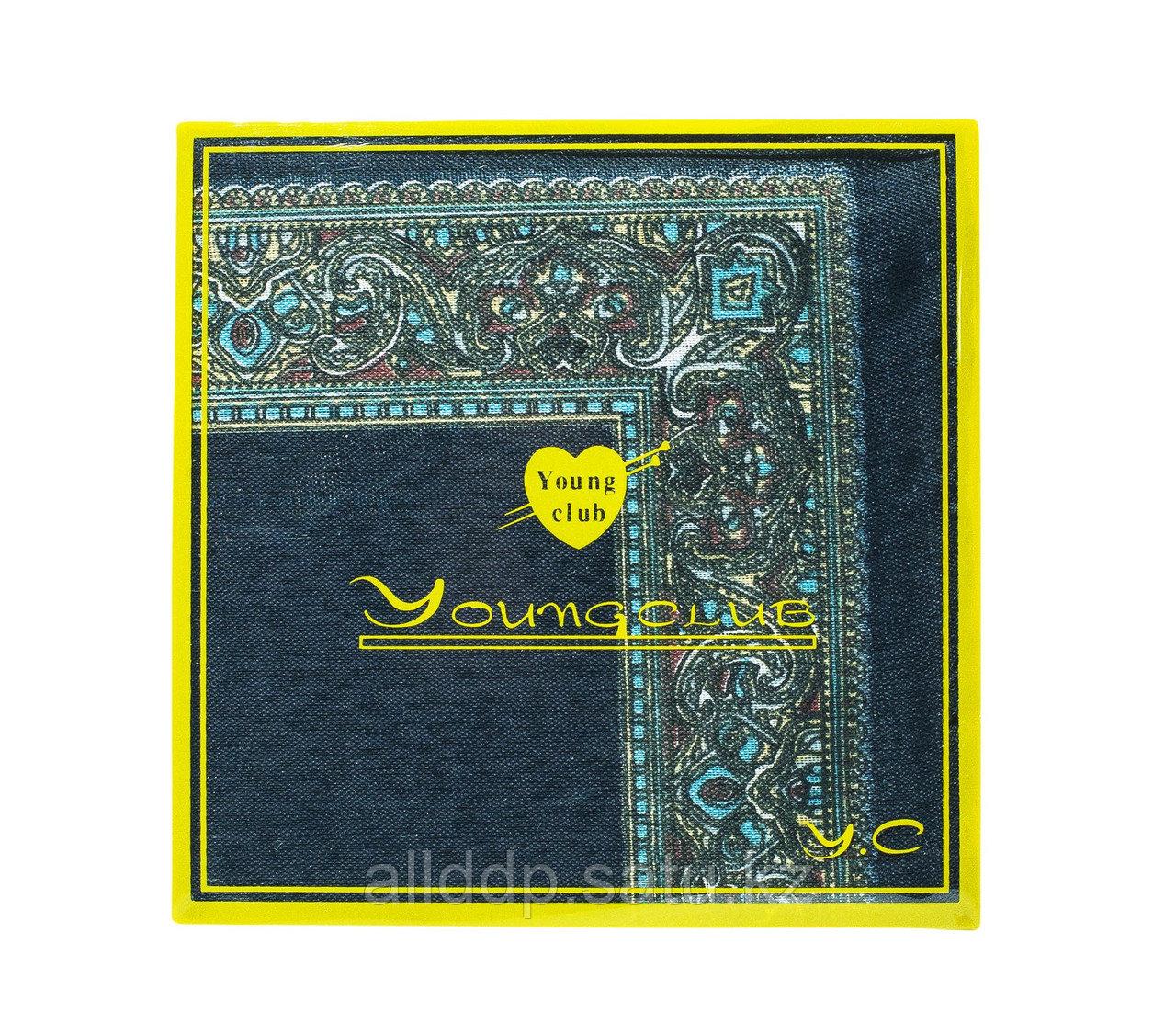Платок носовой в упаковке (синий с голубым узором), 12 см