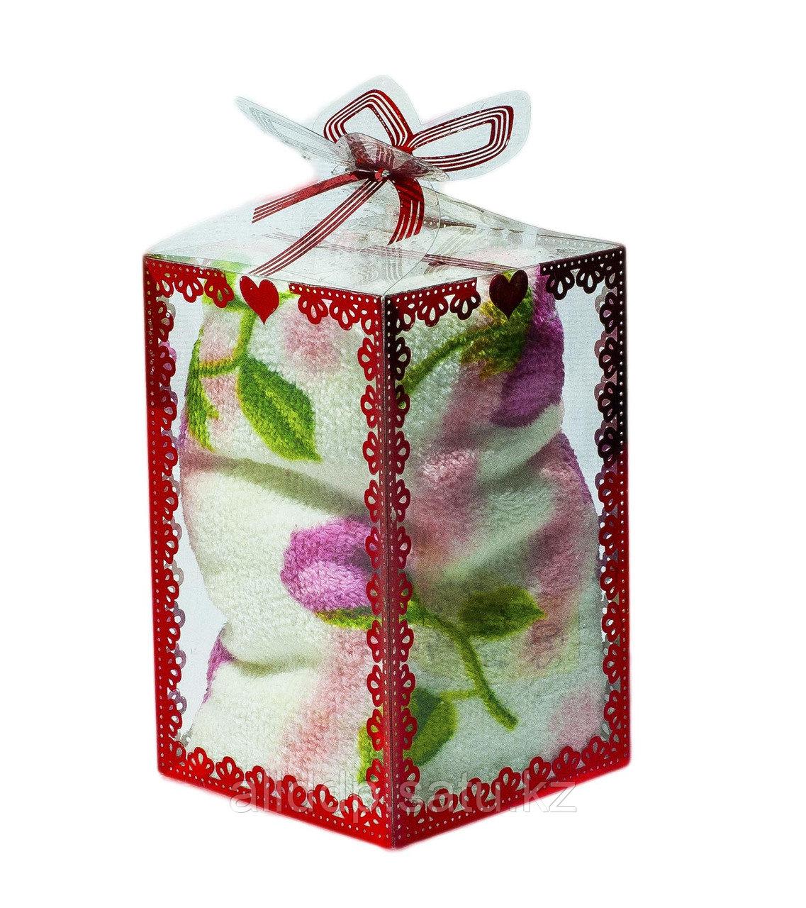 Полотенце в подарочной упаковке (белое с розовыми цветами), 11 см