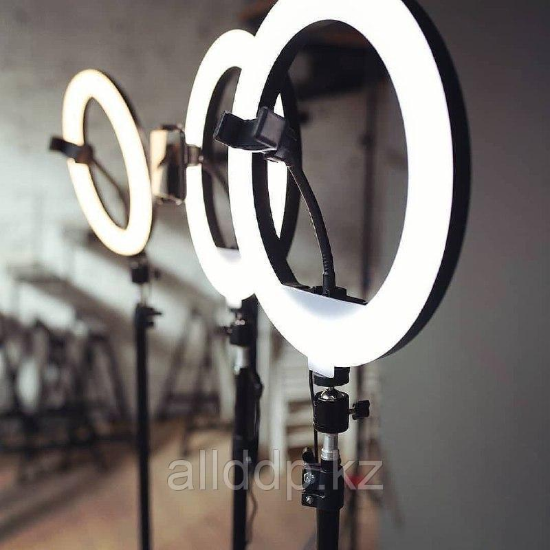 Селфи лампа, кольцевая на подставке с зажимом для телефона, 45 см