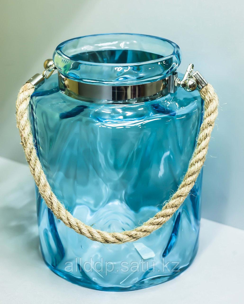 Декоративная банка -сувенир, подвесная (голубое стекло),25см