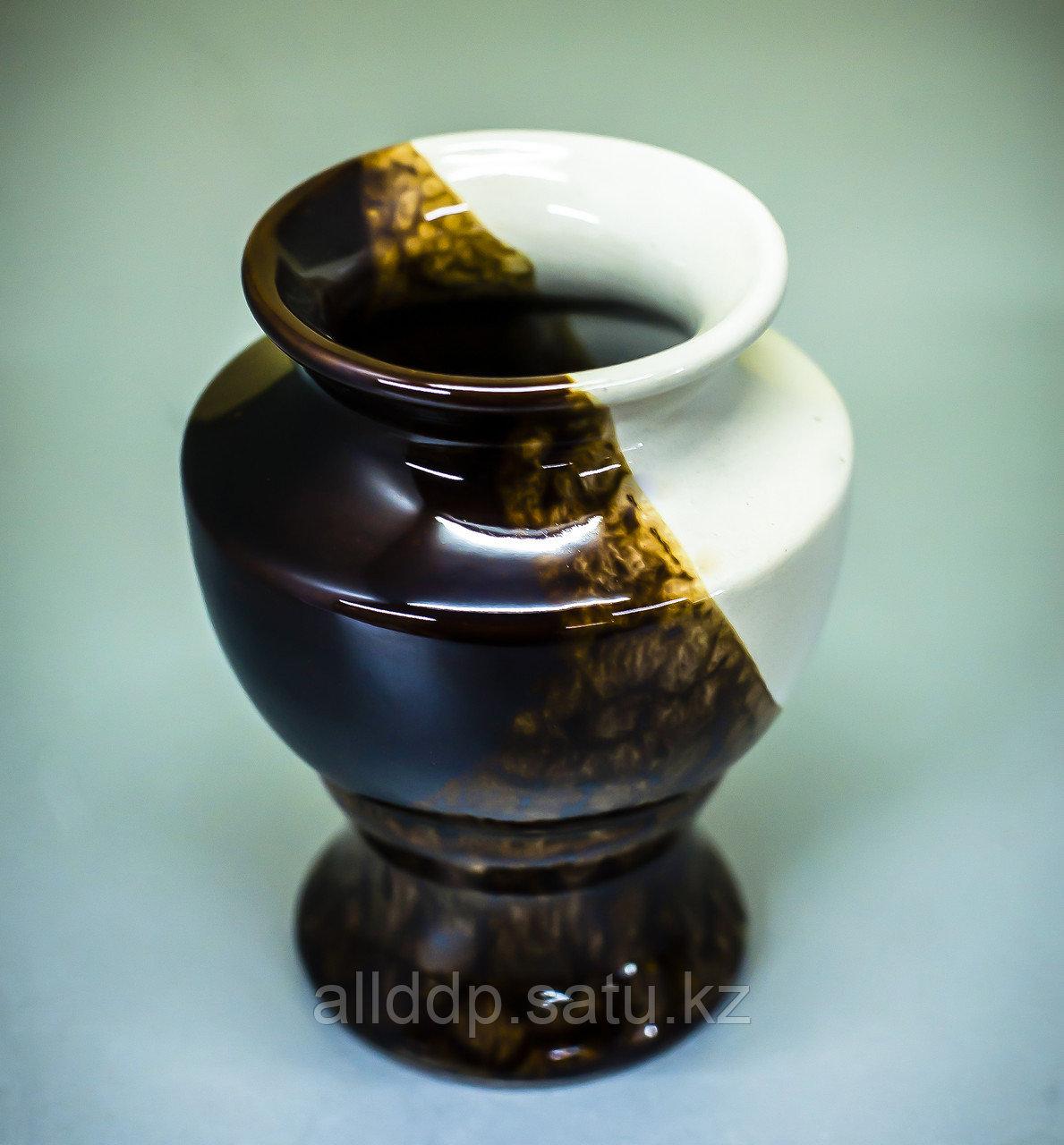 Чаша декоративная (керамика, бело-коричневая),13,5см