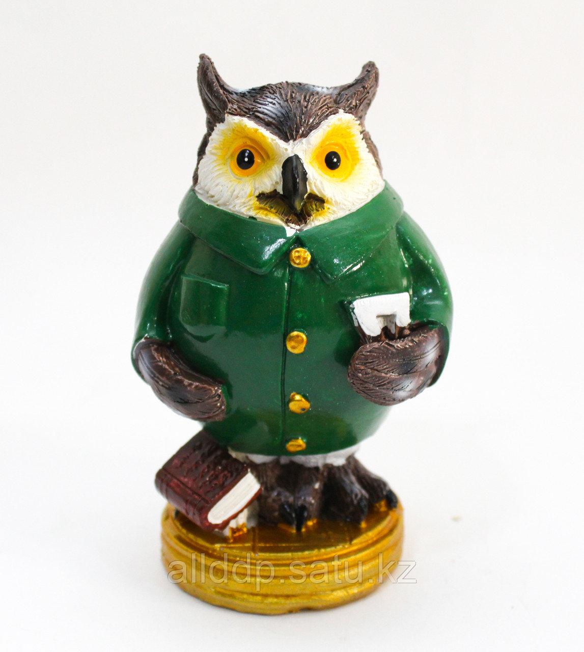 "Статуэтка сова ""Мудрая"", зеленая, (13 см)"