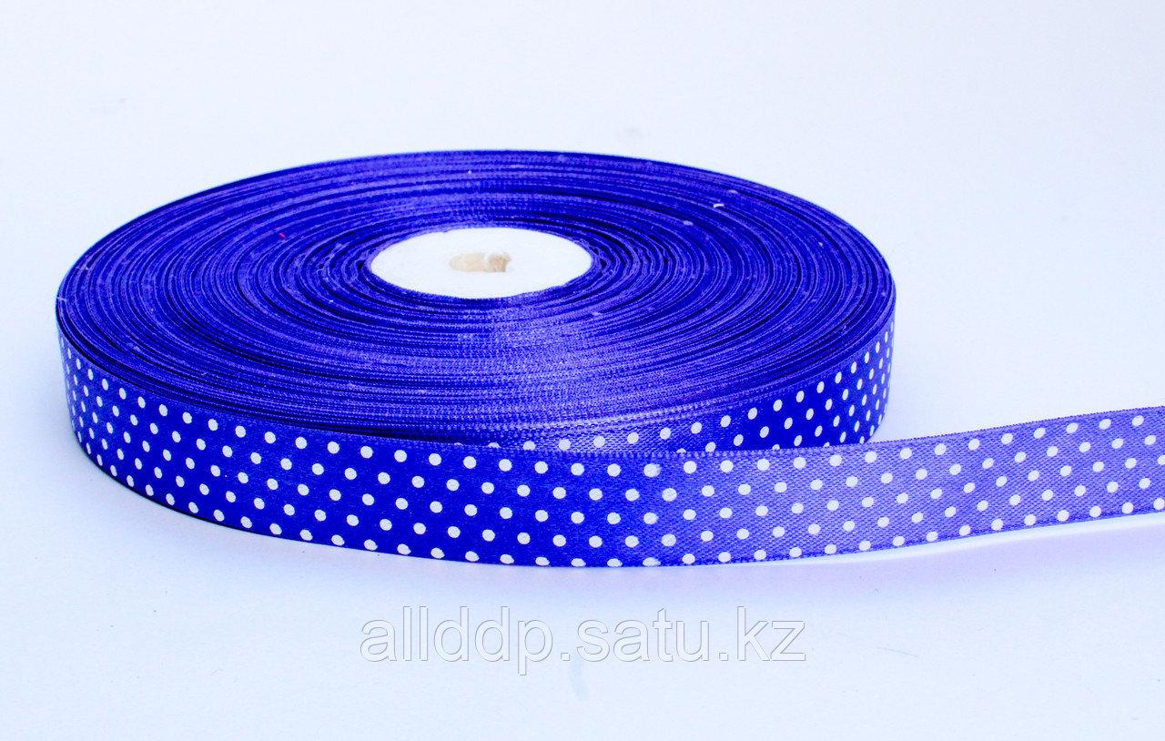 Лента упаковочная, в горошек, синий, 1.5 см