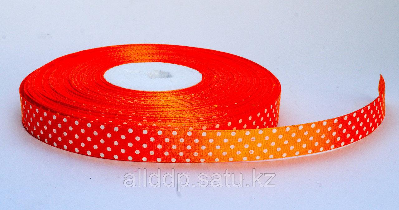 Лента упаковочная, в горошек, оранжевая, 1.5 см