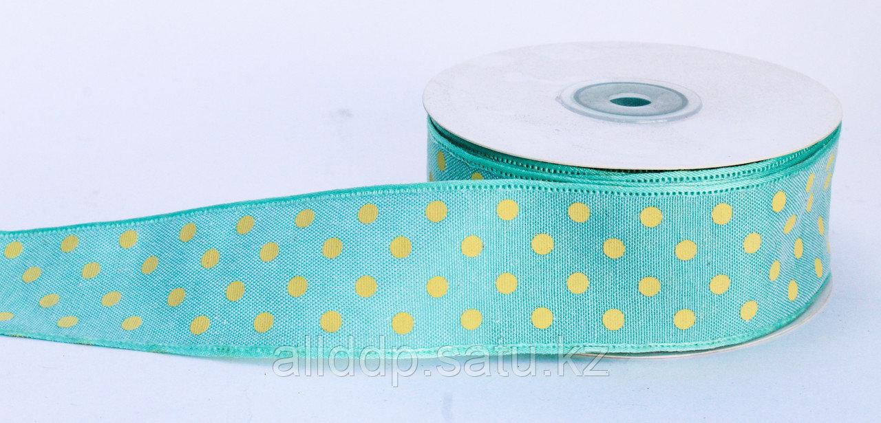 Лента упаковочная тканная, в горошек, аквамарин, 3.5 см