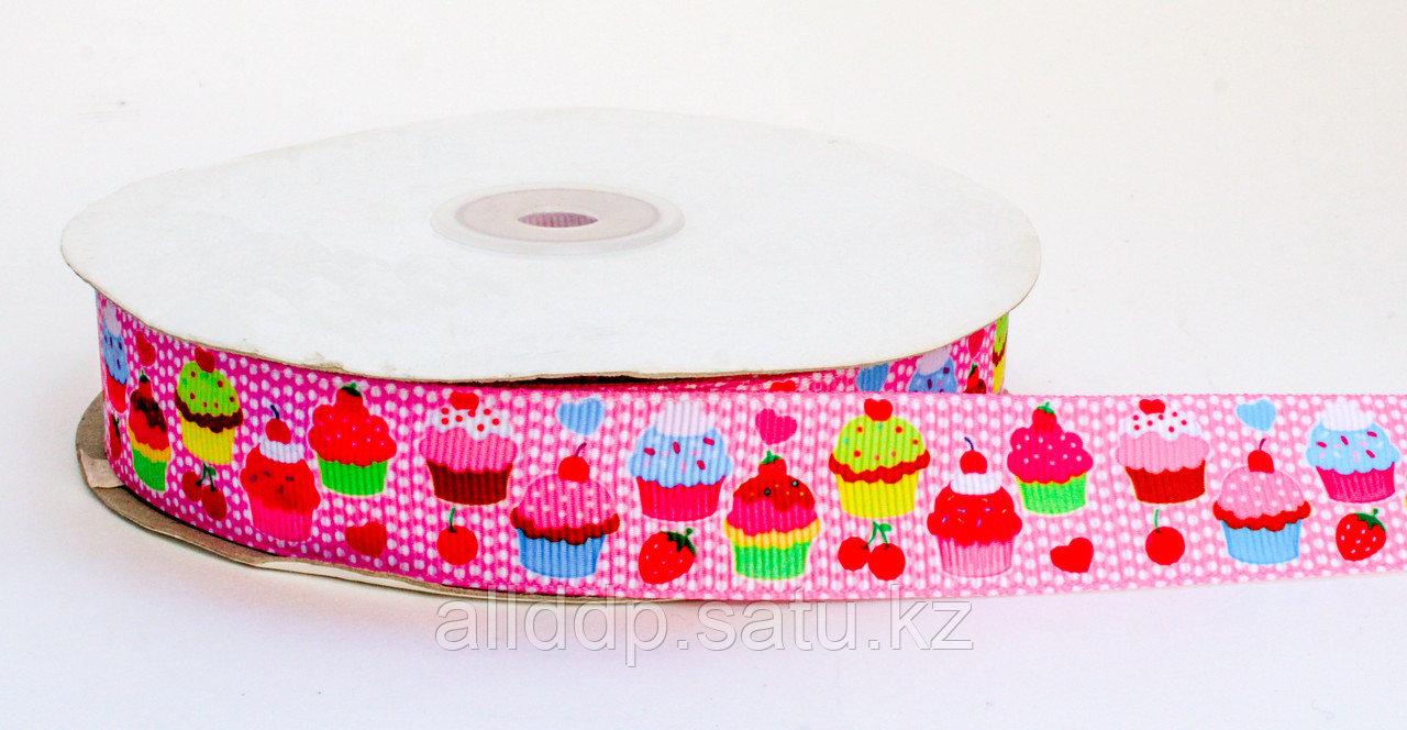 Лента упаковочная, кексики, розовая, 2 см