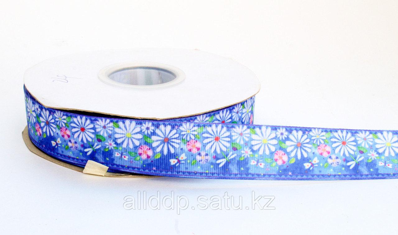 Лента  репсовая (из плотной ткани), ромашки, синяя, 2 см