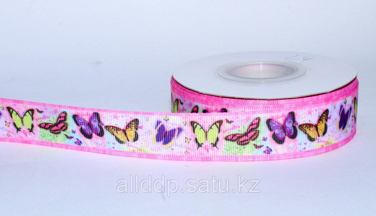Лента  репсовая (из плотной ткани), бабочки, розовая, 2 см