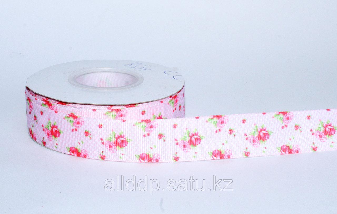 Лента  репсовая (из плотной ткани), розы, розовая, 2 см