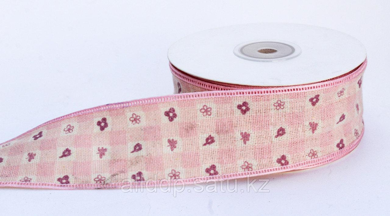 Лента репсовая (из плотной ткани), цветочки, розовая, 4 см