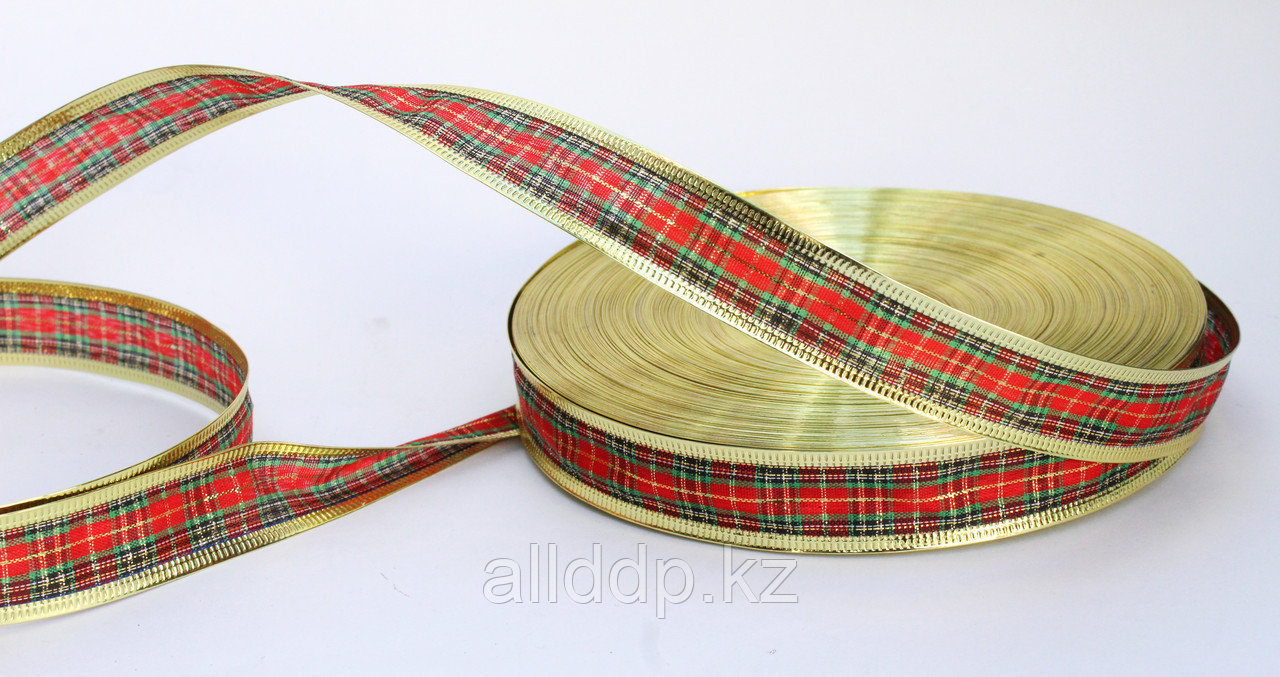 Лента шотландка, красная, 3 см