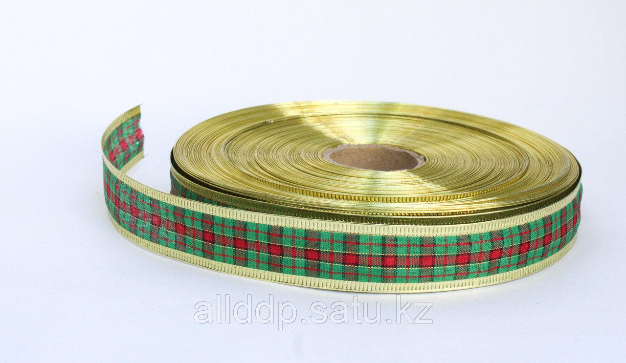 Лента шотландка, зеленая, 3 см