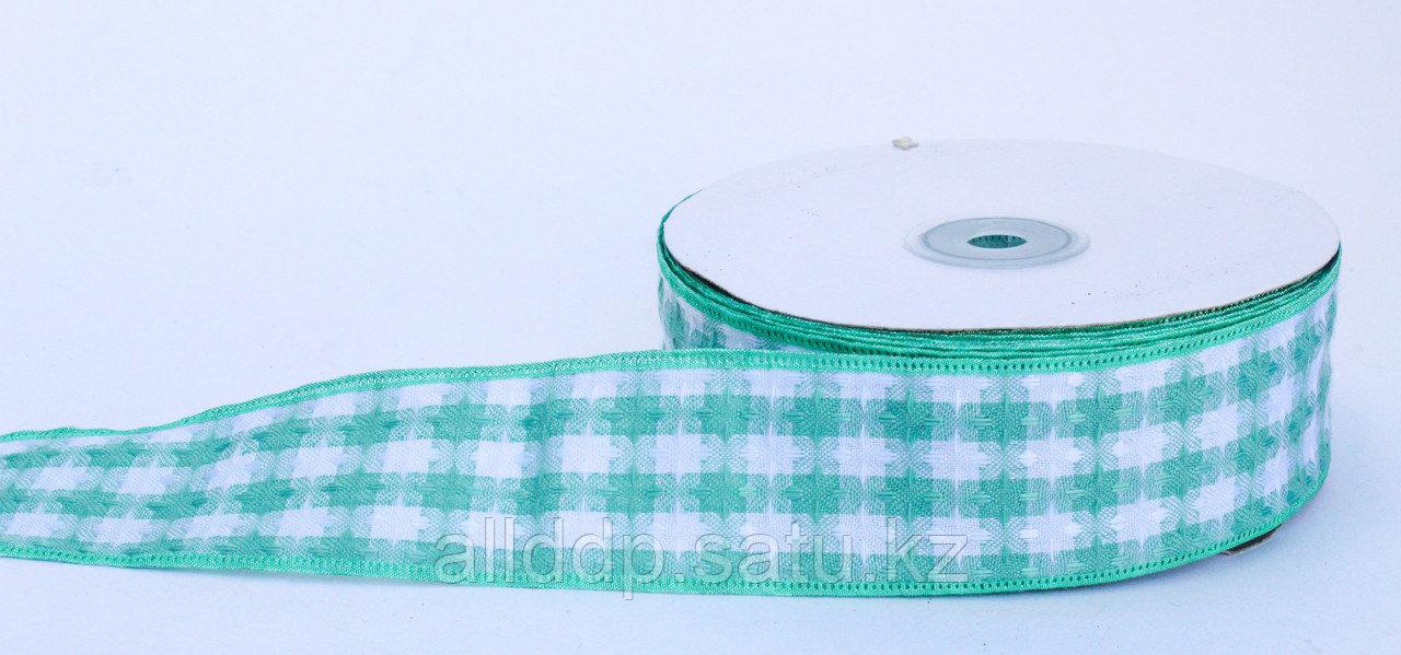Лента репсовая (из плотной ткани), бело-зеленая, 5 см