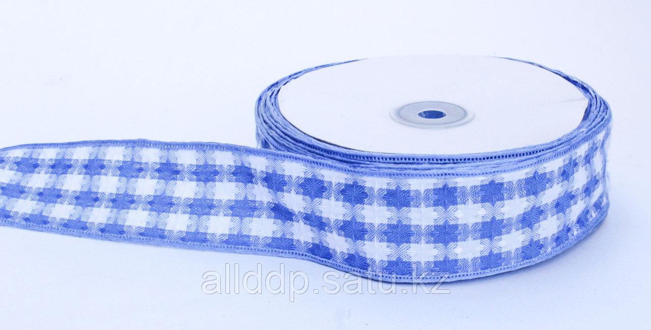 Лента репсовая (из плотной ткани), бело-голубая, 5 см