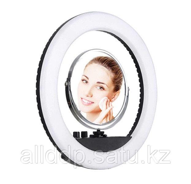 Селфи лампа, кольцевая на подставке с креплением для фотоаппата и зеркалом, 42 см