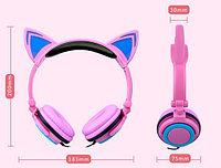 Наушники с ушками кошки cветящиеся, розовый