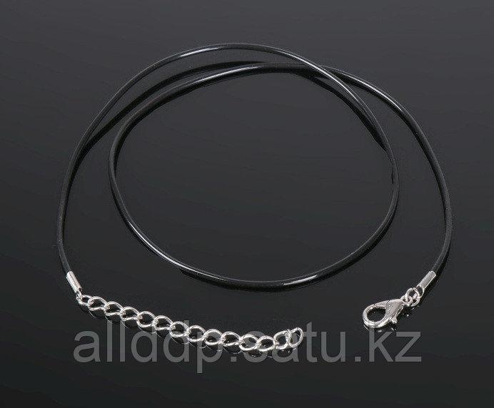 Шнурок 43 см с удлинителем d=0,15 см каучук, цвет черный