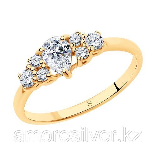 Кольцо SOKOLOV серебро с позолотой, фианит  93010408 размеры - 15 15,5 16 17