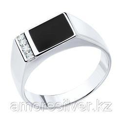Печатка SOKOLOV серебро с родием, эмаль фианит  94010434