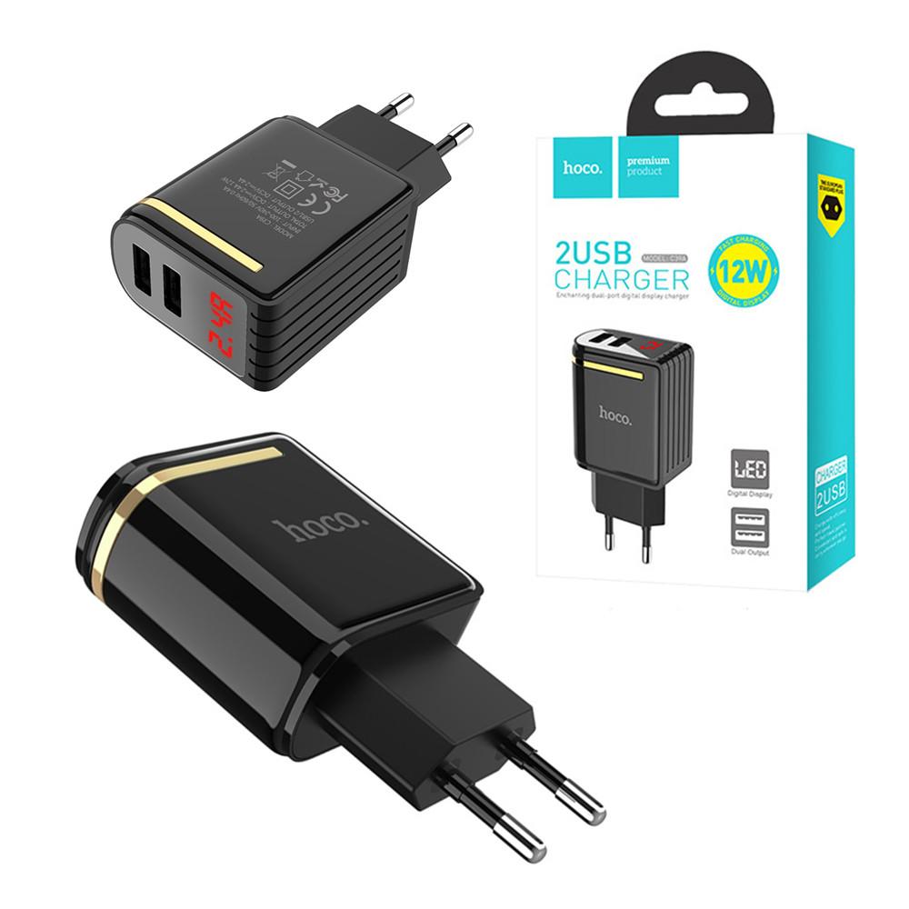 Сетевое зарядное устройство Hoco CA39A 4XUSB 2.4A, 12W, Black