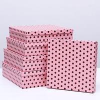 Набор коробок 5в1 'Горох на розовом', 34 х 34 х 9 - 26 х 26 х 5 см