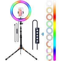 Кольцевая лампа 33 см RGB РАДУГА Штатив 2 метра и держатель Есть обычные цвета