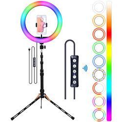 Кольцевая лампа 33 см RGB РАДУГА штатив
