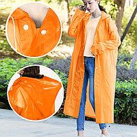 Универсальный плащ-дождевик с капюшоном на кнопках многоразовый утолщенный Peva Raincoat C1090 оранжевый
