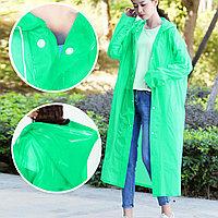 Универсальный плащ-дождевик с капюшоном на кнопках многоразовый утолщенный Peva Raincoat C1090 зеленый