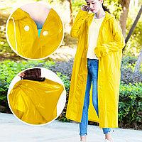 Универсальный плащ-дождевик с капюшоном на кнопках многоразовый утолщенный Peva Raincoat C1090 желтый
