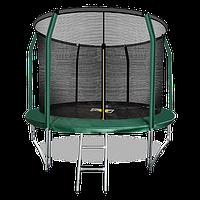 Батут ARLAND Premium 10 ft inside с внутренней страховочной сеткой и лестницей (Dark green)