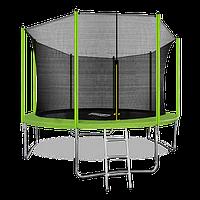 Батут ARLAND 12 ft inside с внутренней страховочной сеткой и лестницей (Light green)