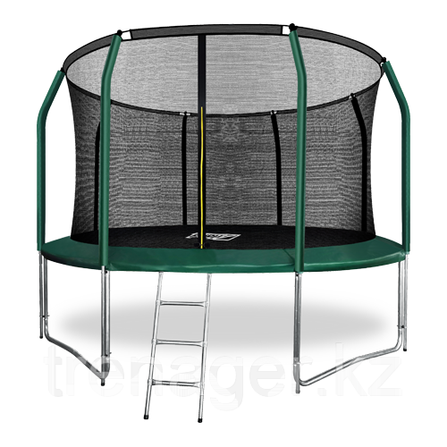 Батут ARLAND Premium 12 ft inside с внутренней страховочной сеткой и лестницей (Dark green)