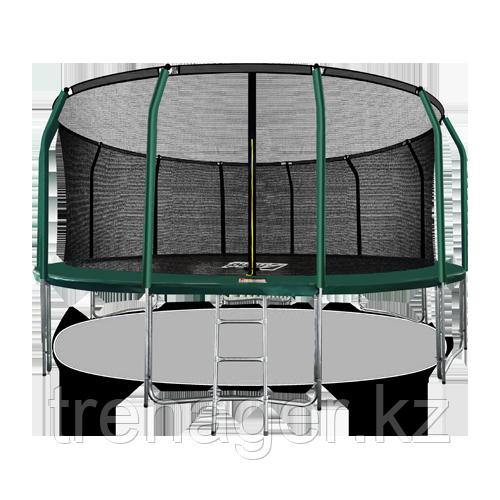 Батут ARLAND Premium 16 ft inside с внутренней страховочной сеткой и лестницей (Dark green)