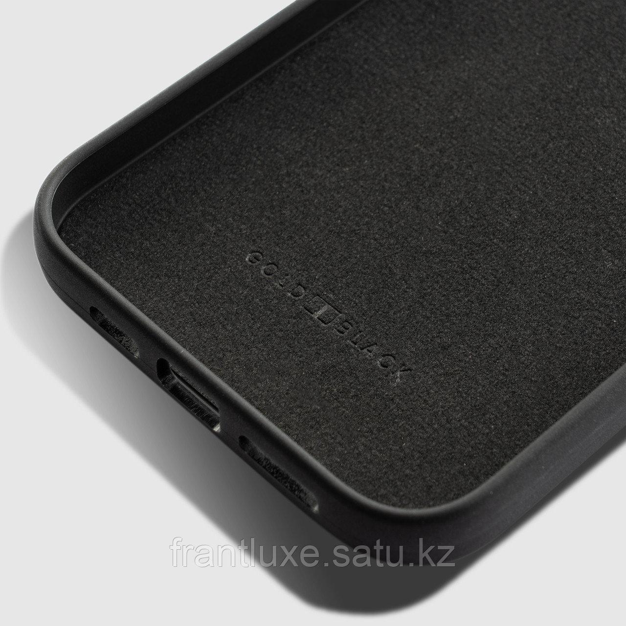 Чехол для телефона iPhone 12/12 Pro с ремешком-держателем Nappa чёрный - фото 3