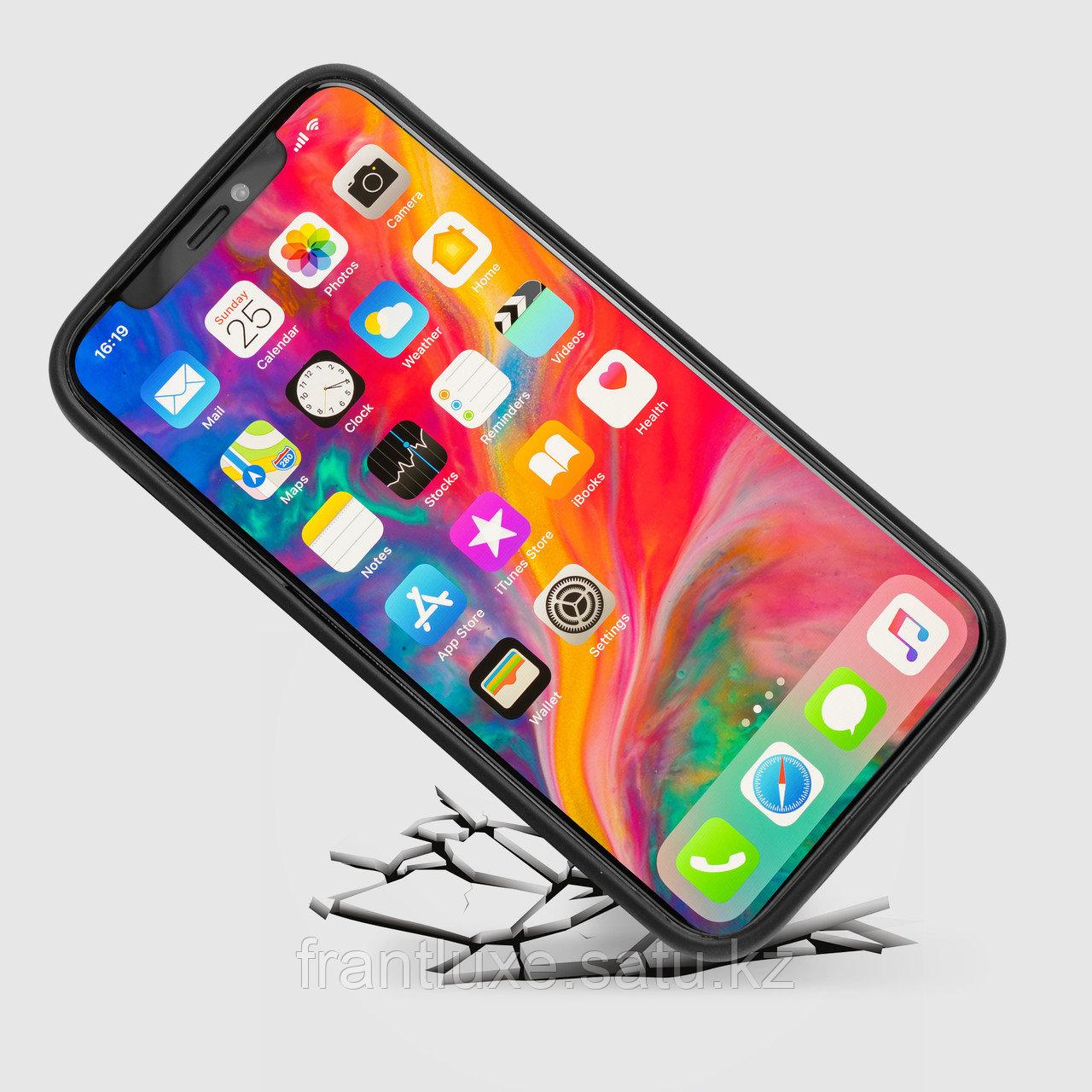Чехол для телефона iPhone 12/12 Pro с ремешком-держателем Nappa чёрный - фото 5