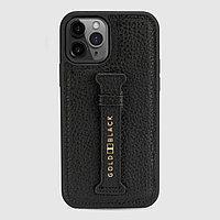 Чехол для телефона iPhone 12/12 Pro с ремешком-держателем Nappa чёрный