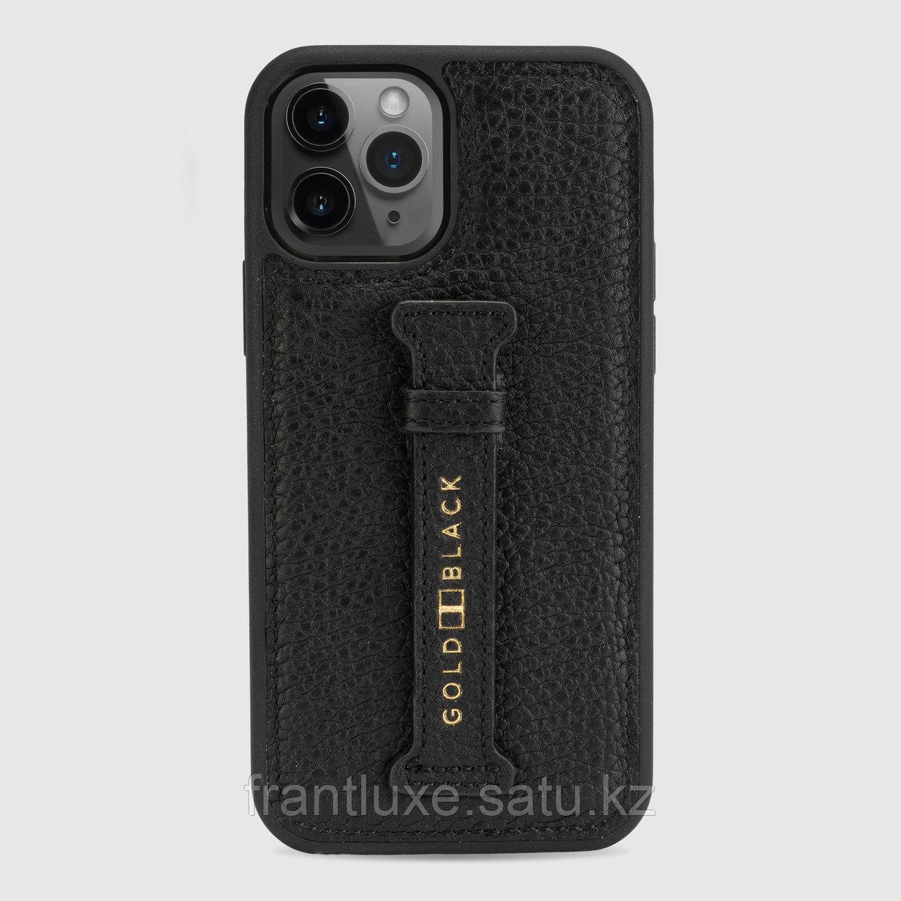 Чехол для телефона iPhone 12/12 Pro с ремешком-держателем Nappa чёрный - фото 1