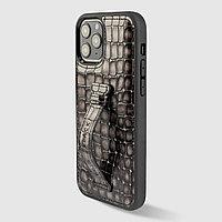 Чехол для телефона iPhone 12/12 Pro с ремешком-держателем серый