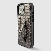 Чехол для телефона iPhone 12 Pro Max с ремешком-держателем серый