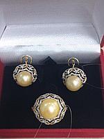 Комплект с жемчугом и бриллиантами / жёлтое золото