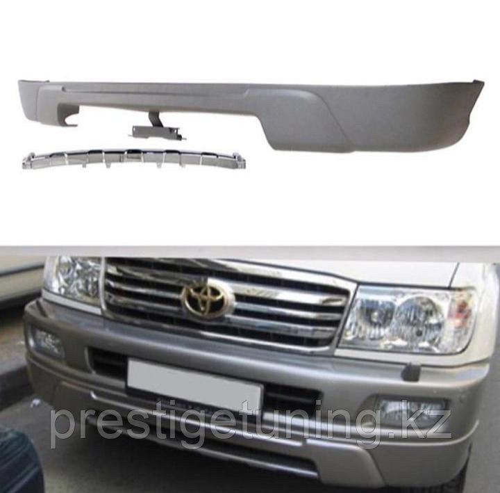 Передняя губа на бампер на Land Cruiser 100 1998-2007 Черный
