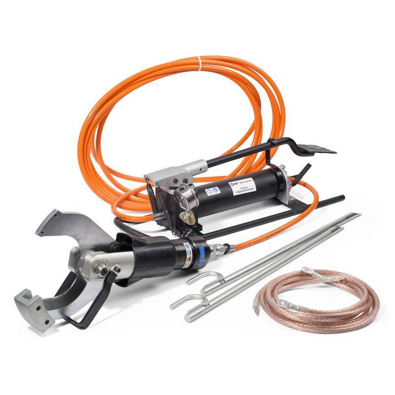 Комплект гидравлических ножниц с ножной помпой для резки кабелей под напряжением