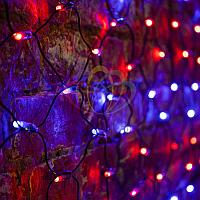 """Универсальная гирлянда """"Сеть"""" - 2х0,7 метра, 176 лампочек, красный/синий цвет, мерцающая"""