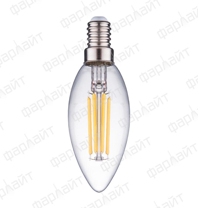 Лампа светодиодная нитевидная прозрачная свеча С35 7 Вт 2700 К Е14 Фарлайт