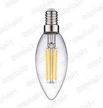 Лампа светодиодная нитевидная прозрачная свеча С35 7 Вт 4000 К Е14 Фарлайт